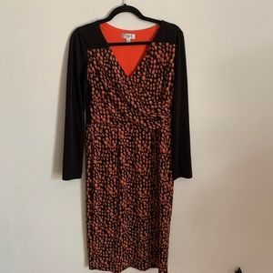 Maggy L Black Red Printed Long Sleeve Dress